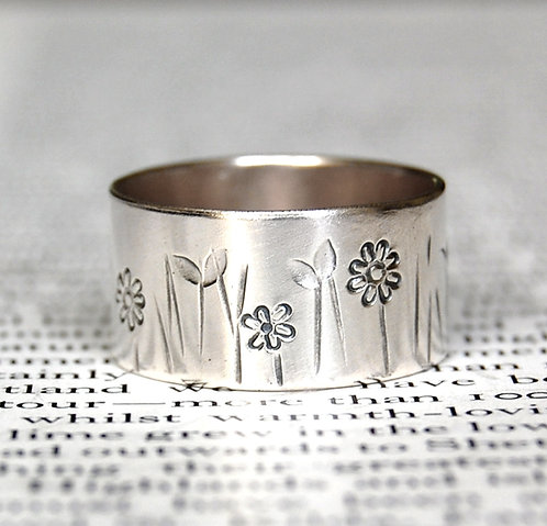 handmade wide silver band ring