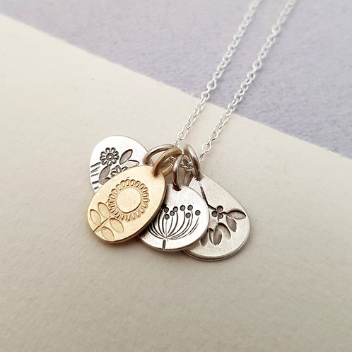 Silver and Solid Gold Four Seasons Necklace
