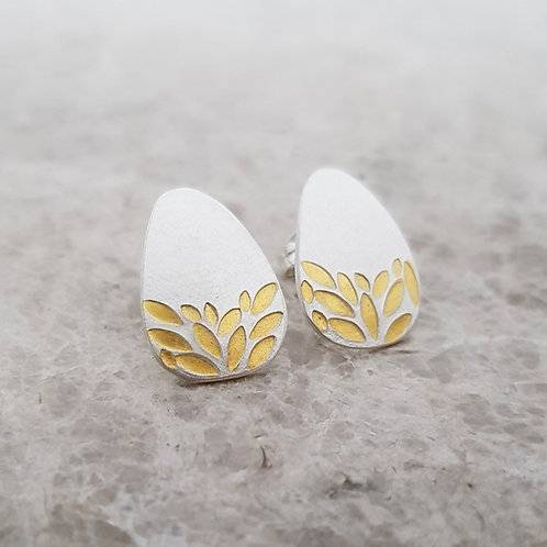 solid silver and gold leaf stud earrings