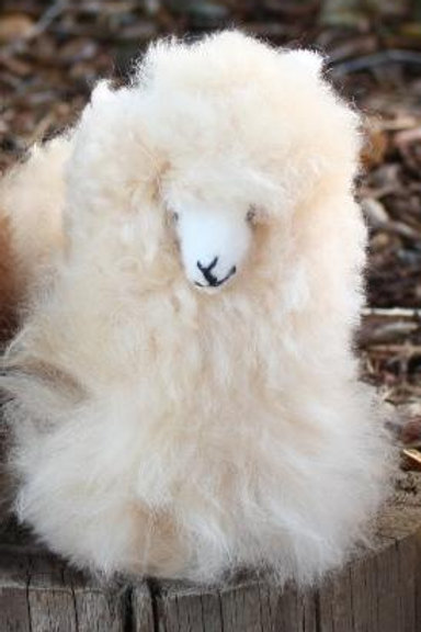 "6"" Standing Alpaca Fur Toy - Fawn"
