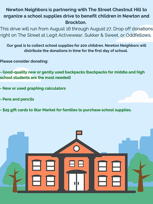 school supplies drive - donate at The Street between now and August 27 at Legit Activewear