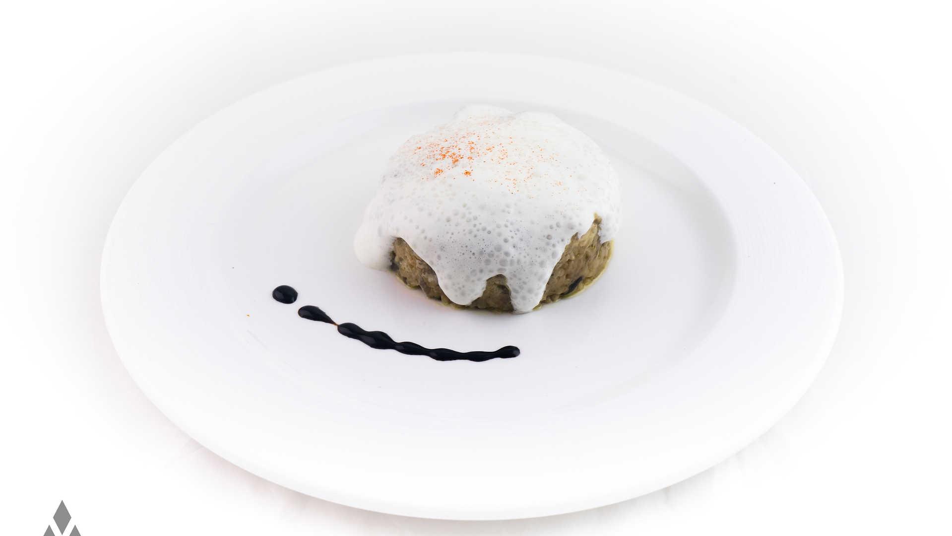 Arroz Meloso con Boletus y espuma de Torta de la Serena