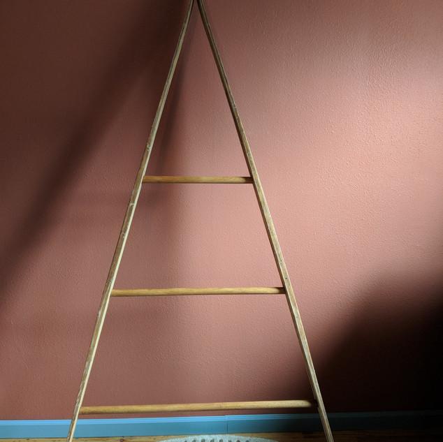 Antique Nordic ski quilt ladder