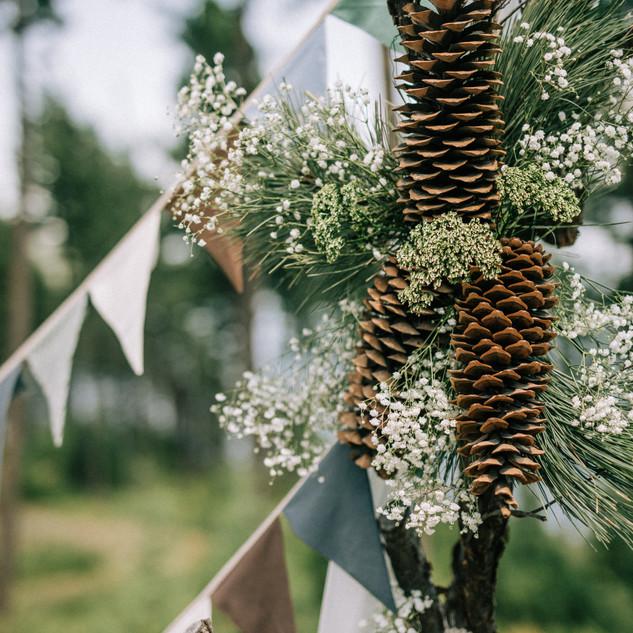 close up of wedding decoration on arbor