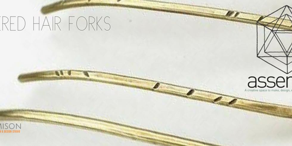Hammered Hair Forks