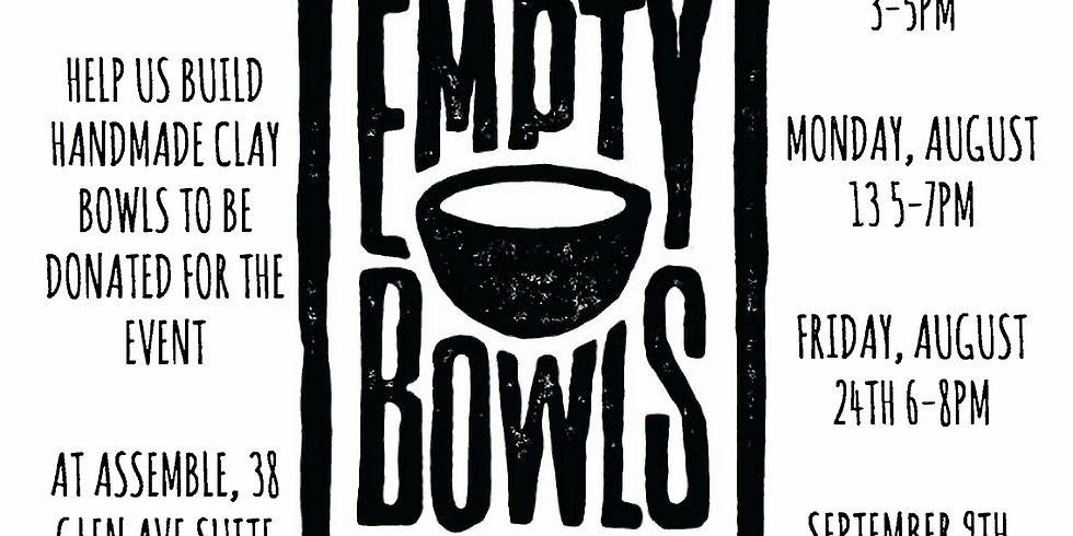 BUILD Bowls for Empty Bowls Event 8/13