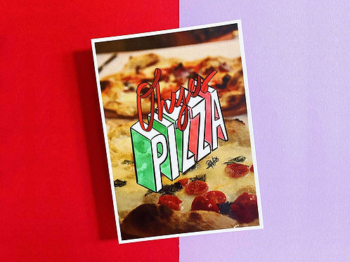 Postkarte | Oh yes, Pizza!