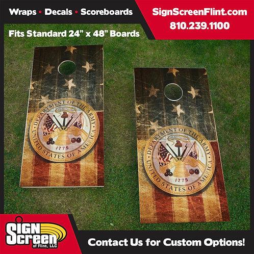 Army American Flag Cornhole Wrap