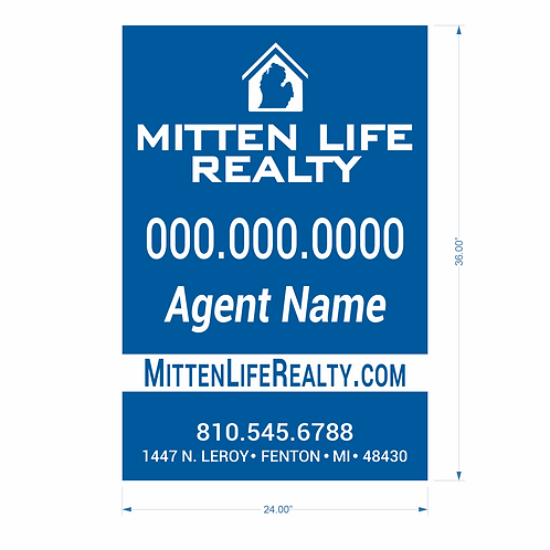 """Mitten Life Realty - 36"""" x 24"""" Sign"""