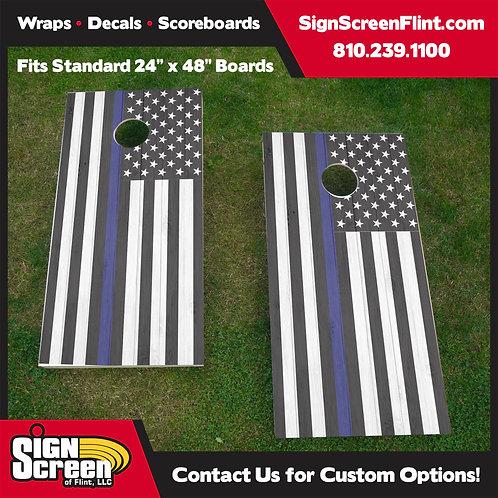 Thin Blue Line Flag, American Flag Barnwood Cornhole