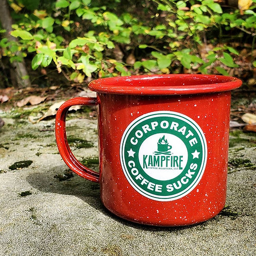 "KAMPFIRE ""Corporate Coffee Sucks"" 12oz Camp Mug"