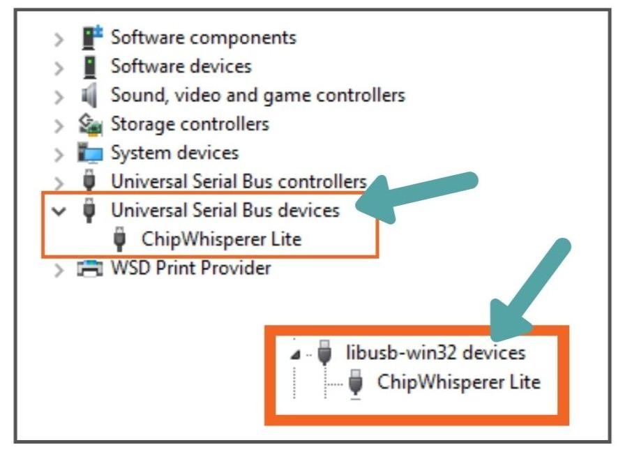 Identify WinUSB or libusb0 under Device Manager menu.