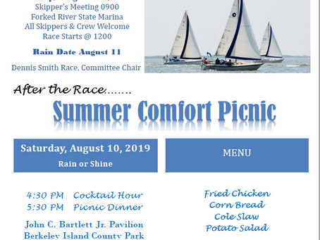 TOYC Race #5 and Summer Comfort Picnic - Saturday August 10, 2019