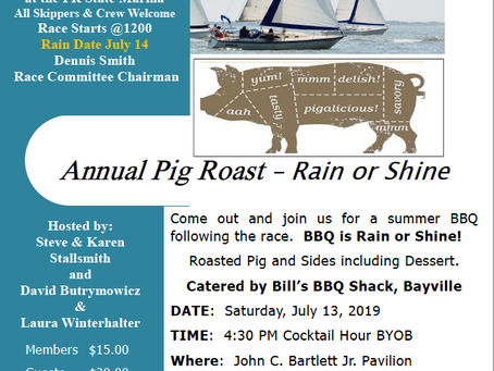 TOYC Race #3 and Pig Roast Saturday July 13, 2019