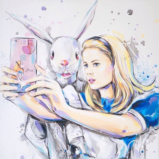 Alice and the White Rabbit Selfie