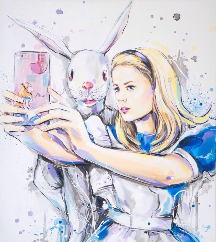 Alice and the White Rabbit Selfie