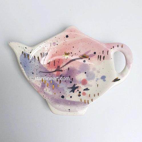 Pink Tea Bag Holder 'I Heart the Stars' (SOLD)