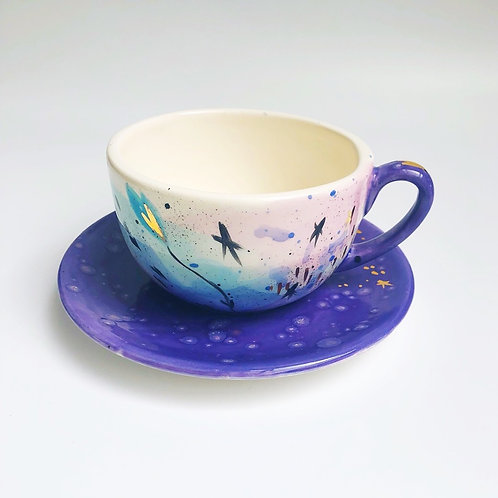 Tea Cup & Saucer 'I Heart the Stars'