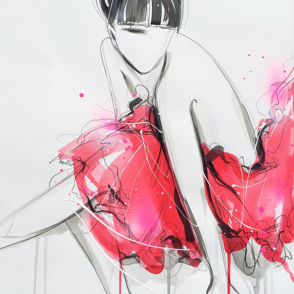 Ballerina in Red Tutu (study)