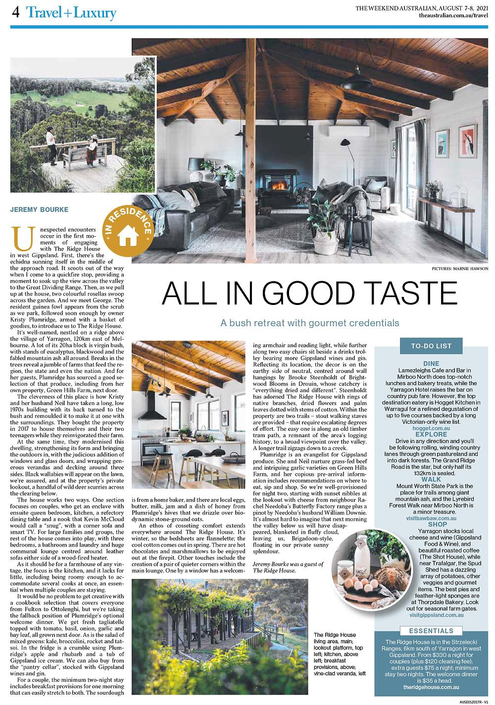 All in good taste, The Ridge House, Weekend Australian