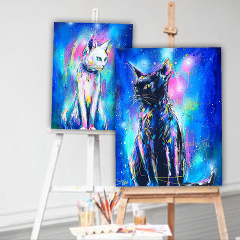 White Cat (Study) | Black Cat (Study)