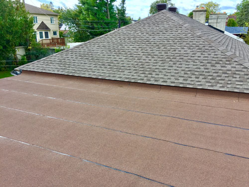 shingle and flat roof combination