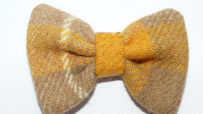 Tartan Bow Tie - Mustard Beige