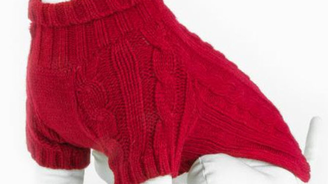 Red Cable Knit Dog Jumper