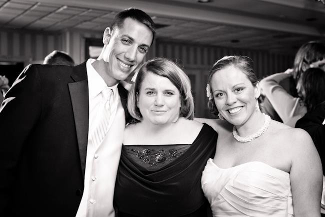 Justin & I with Gina on our wedding day.