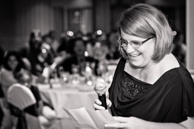 Gina, who gave a speech at our wedding.