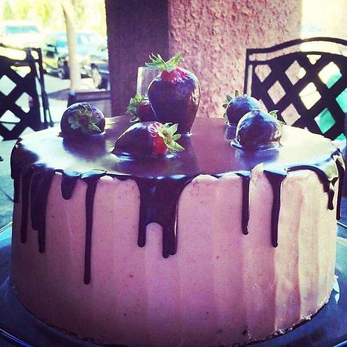 Chocolate Strawberry Truffle Cake