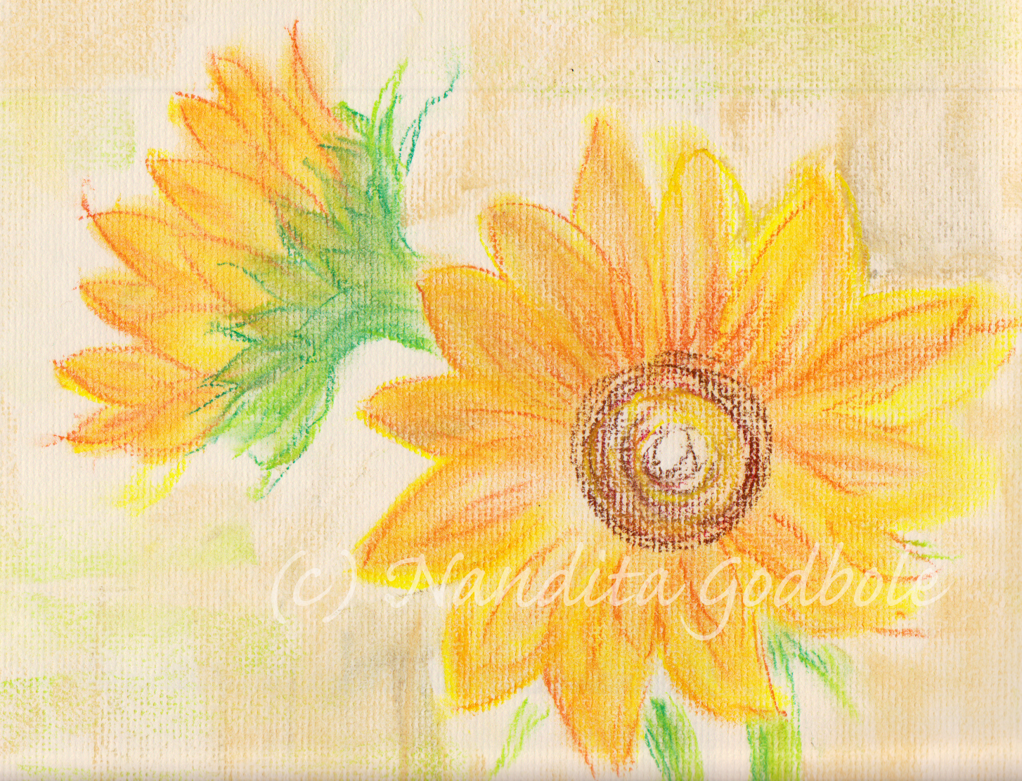 Sunflowers, pastel