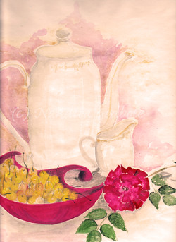 Tea & Cherries, watercolor