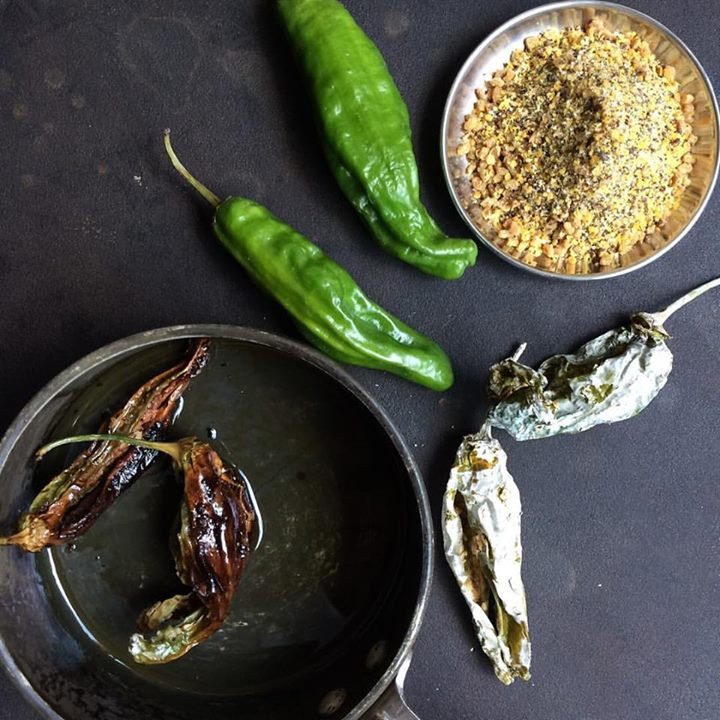 Spice & Yogurt Stuffed Dried Shishito Chilies