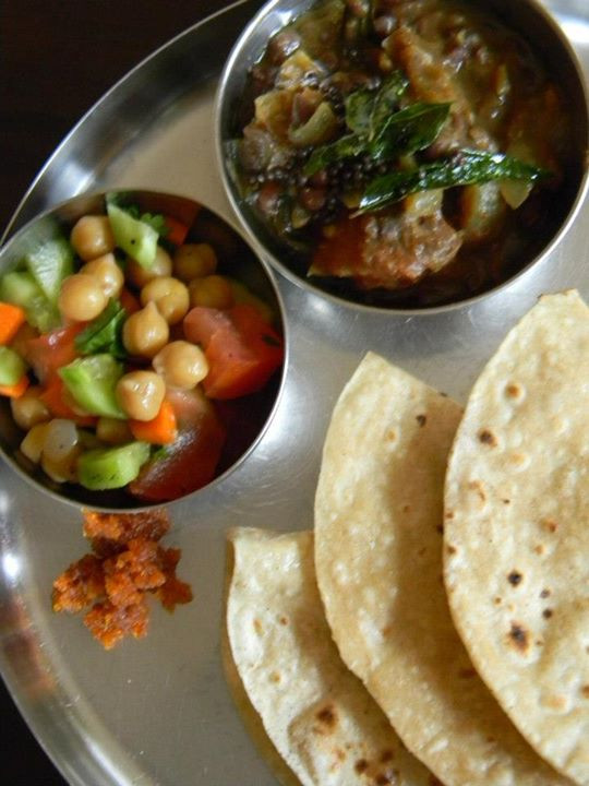 Facebook - A Peasant's Lunch: Adzuki beans Misal, warm Fulka roti, and sides of