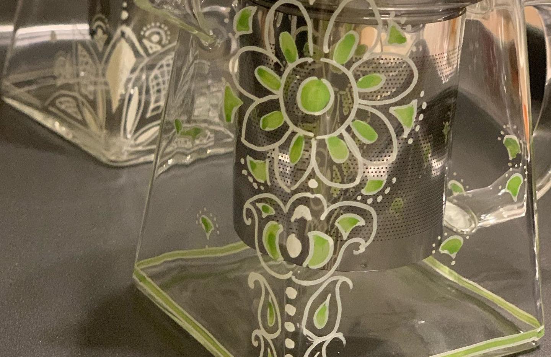 Green & white glass teapots