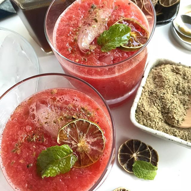 Glasses of watermelon drink