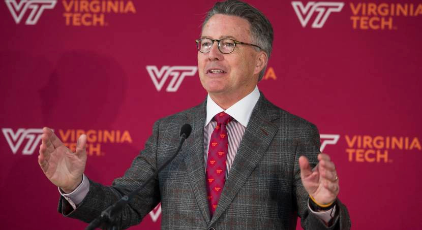 Virginia Tech President Tim Sands speaks at the school's announcement of a 1 million square-foot technology focused campus in Alexandria, Va., to build one of it's two new headquarters, Tuesday, Nov. 13, 2018. The project was cited as a key reason Amazon selected Virginia for a new headquarters. (AP Photo/Cliff Owen)