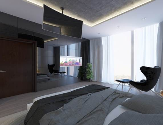 Bedroom with see-through aquarium