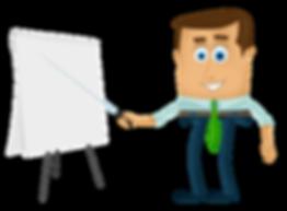 dessin businessman qui présente sur un paperboard