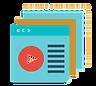 pictogramme plusieurs pages web ouvertes et logo lecture vidéo