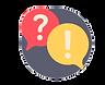 pictograme rond avec bulles et point d'interrogation et point d'exclamation