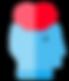 homme tête coeur pictogramme bleu rouge