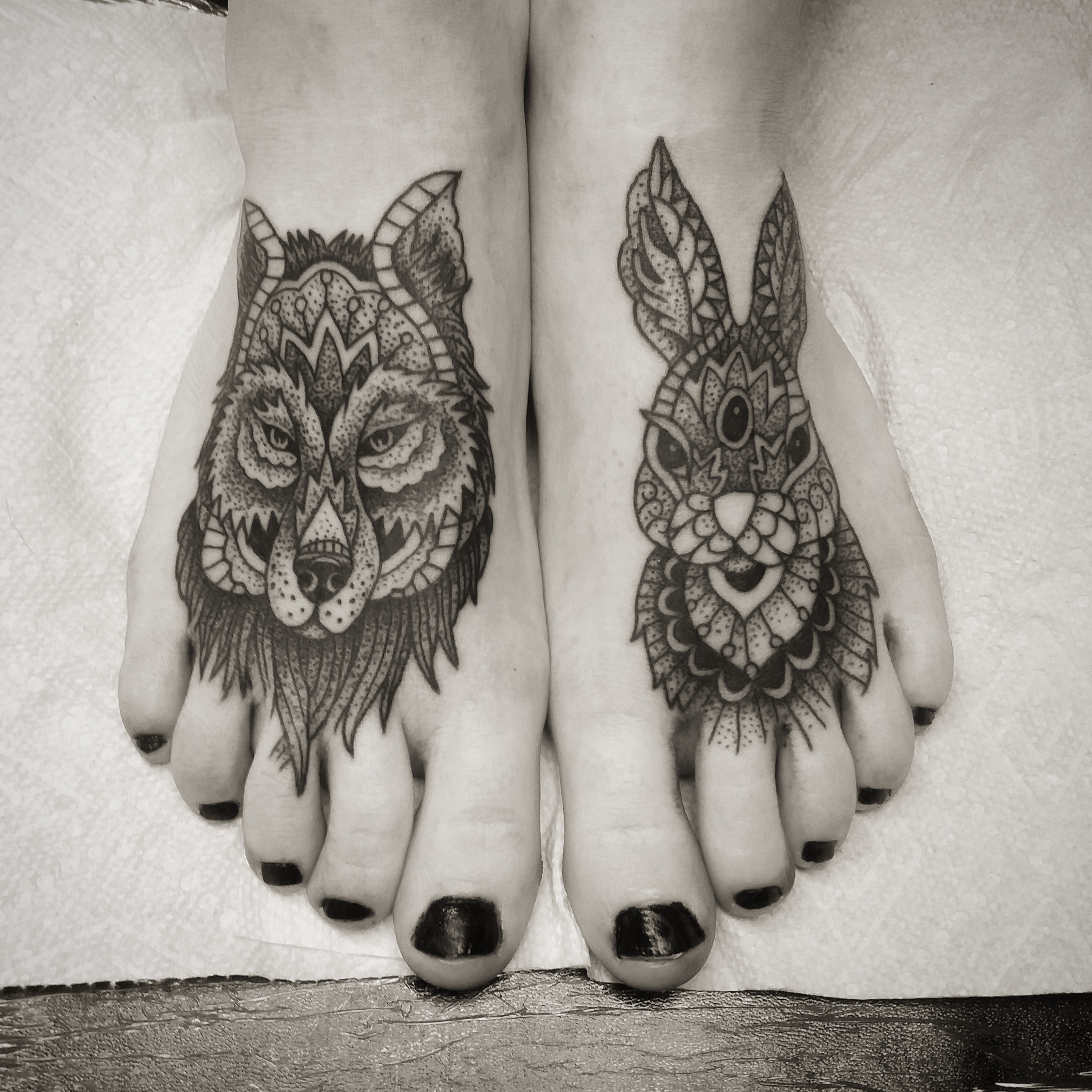 Wolf and Rabbit on feet