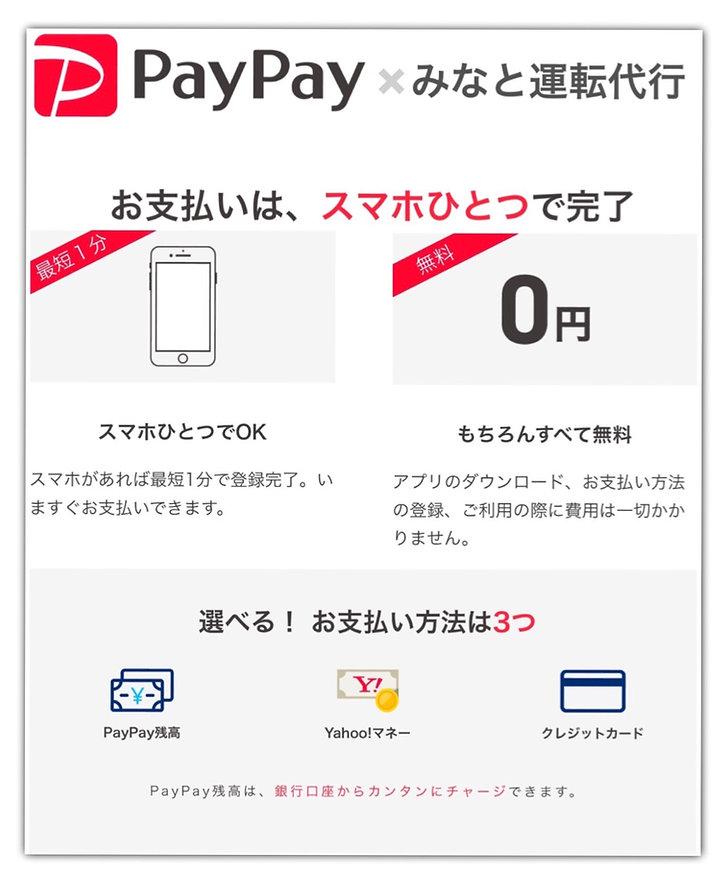 paypayを利用してクレジットカード決済が可能みなと運転代行