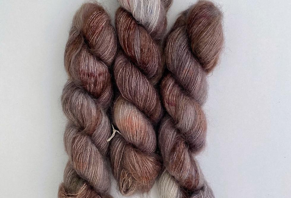 OOAK Grey Rust - Mohair Silk Fluff