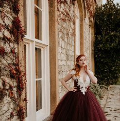 burgundy wedding dress