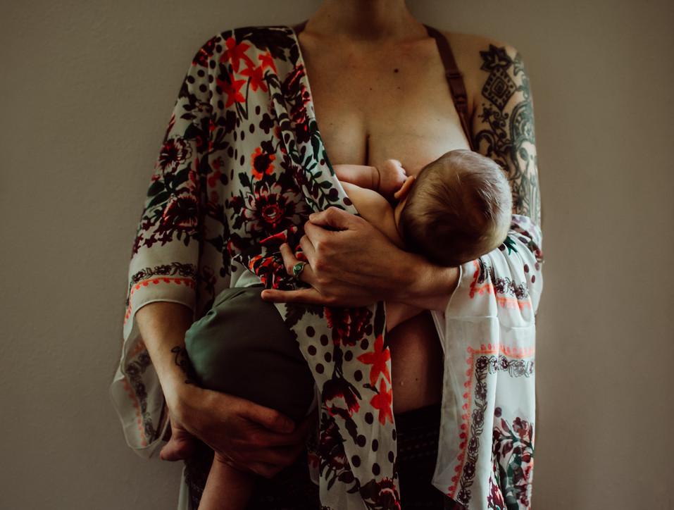 indoor photo session mother nursing baby portrait | elkhorn, wi