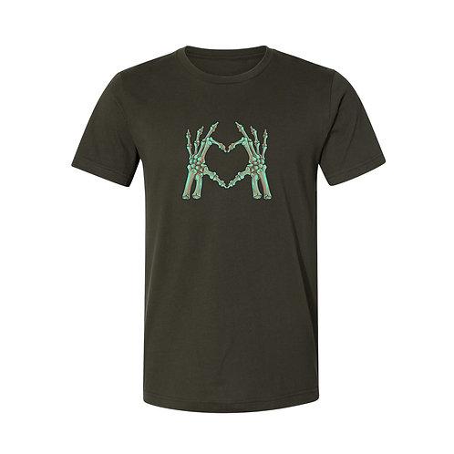 Skeleton Heart Green Graphic Tee