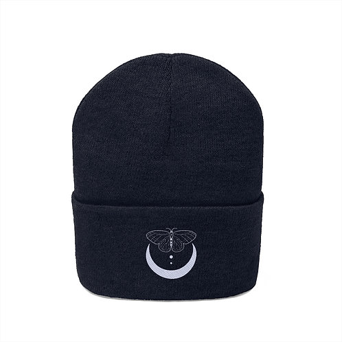 Butterfly Crescent Embroidered Beanie